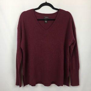 Halogen 100% Cashmere Burgundy V-Neck Sweater